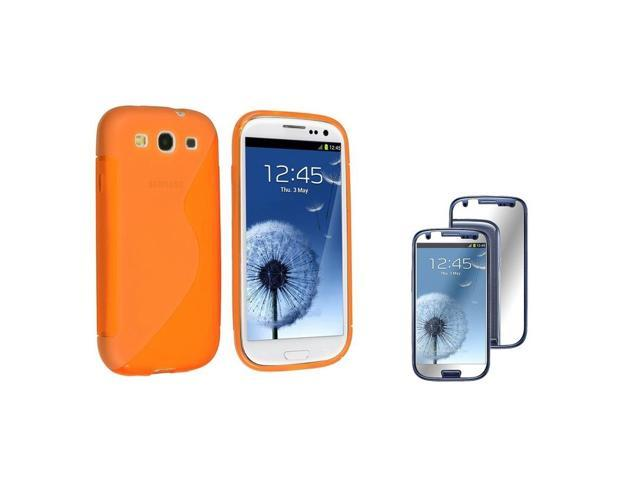 eForCity Clear Orange S Shape TPU Rubber Case + Mirror Screen Protector compatible with Samsung© Galaxy S3 S III i9300
