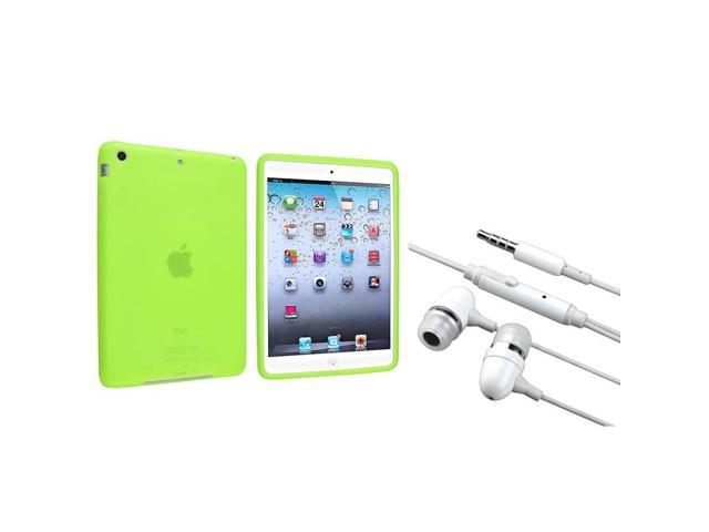 eForCity Green Silicone Case+ White In-ear (w/on-off) Stereo Headsets compatible with Apple iPad Mini 1 / Apple iPad Mini 2 / iPad Mini with ...