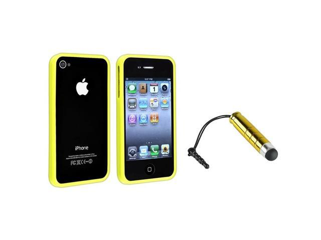 eForCity Yellow Bumper TPU Rubber Skin Case with FREE Yellow Mini Stylus Compatible with Apple® iPhone 4 / 4S