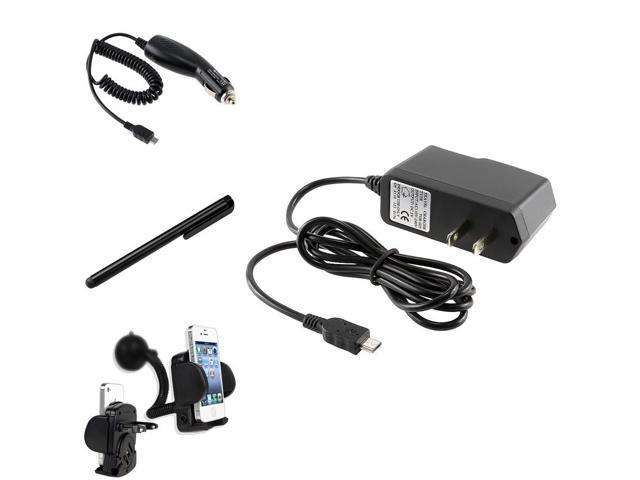 eForCity Car Holder + 2 Charger AC + Black Stylus Compatible with Samsung© Galaxy S III i9300 i9500 S4 IV