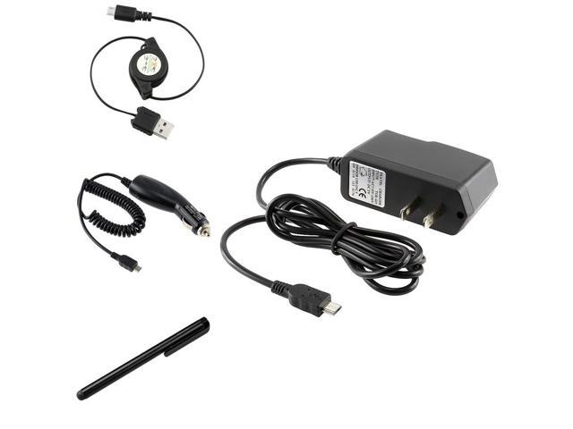 eForCity USB Cable + Car Home Chargers + Black Stylus Compatible with Samsung© Galaxy S3 III i9300 S4 i9500