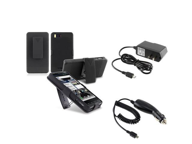 eForCity Black Snap-on Holster Case + Travel/Wall Charger + Car Charger Compatible with Motorola Droid X2