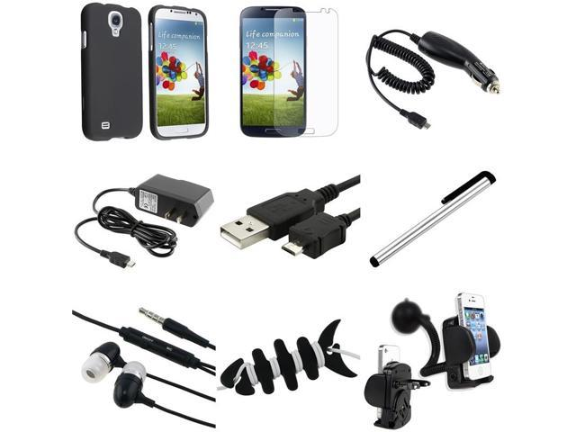 eForCity 9-in-1 Combo for Samsung Galaxy S4 SIV i9500 (Black Hard Case + Matte Screen Protector + Travel / Car Charger + Cable + Wrap ...