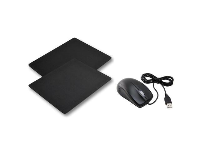 eForCity 2 x Black Silicone Skin MousePad + USB Optical Scroll Wheel Mouse Mice