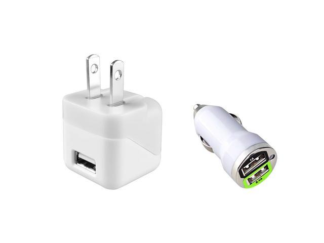 eForCity White 2-Port Car + AC Wall USB Charger For Apple iPhone 6 Plus 5.5