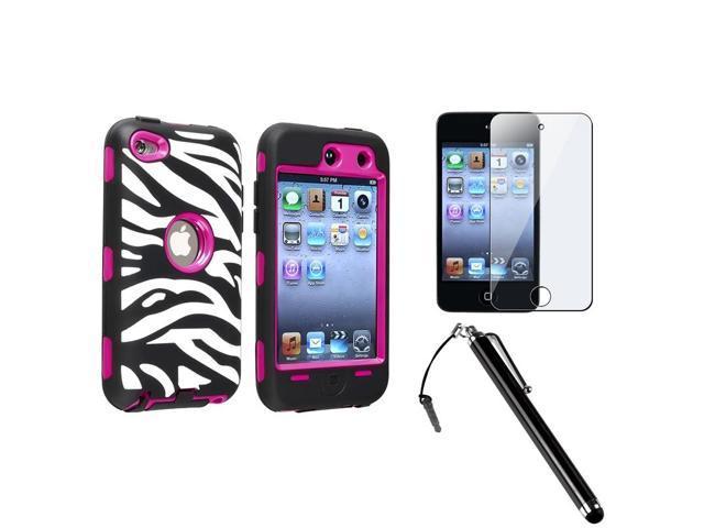 eForCity Zebra Skin/Hot Pink Hard Hybrid Case + Protector + Stylus for Apple iPod touch 4 4th Gen