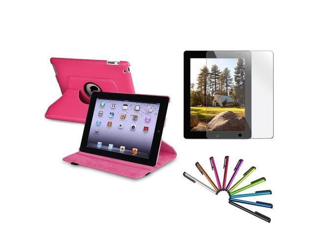 eForCity Hot Pink 360 Rotating Leather Case + Guard + 10 pcs color Stylus for New iPad 4 4th 3 3rd 2 (w/ Auto Sleep/Wake) ...