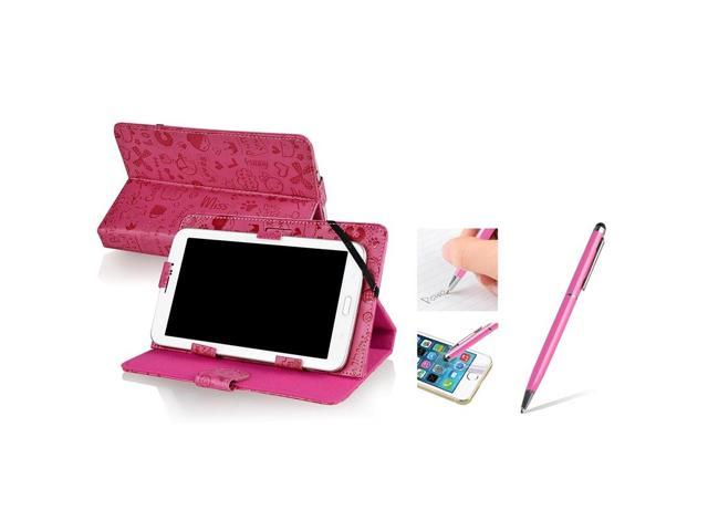 eForCity Hot Pink Cute Leather Case Stand + 2-IN-1 Capacitive Touch Stylus with Ballpoint Pen For Universal 7