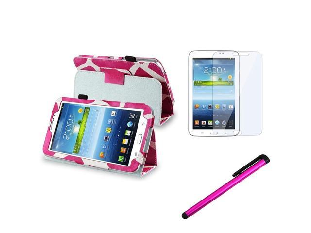 eForCity Pink Giraffe Case + Clear Screen Protector + Pink Stylus For Samsung Galaxy Tab 3 7.0