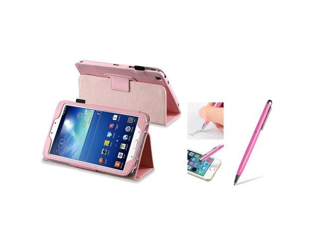 eForCity Pink Leather Case Stand + 2-IN-1 Capacitive Touch Stylus with Ballpoint Pen For Samsung Galaxy Tab 3 8.0