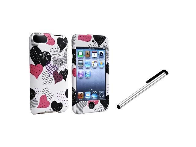 eForCity Pink/Black Heart Cover Skin Case + Silver Pen Stylus For Apple iPod touch 3rd Gen 2 3 G
