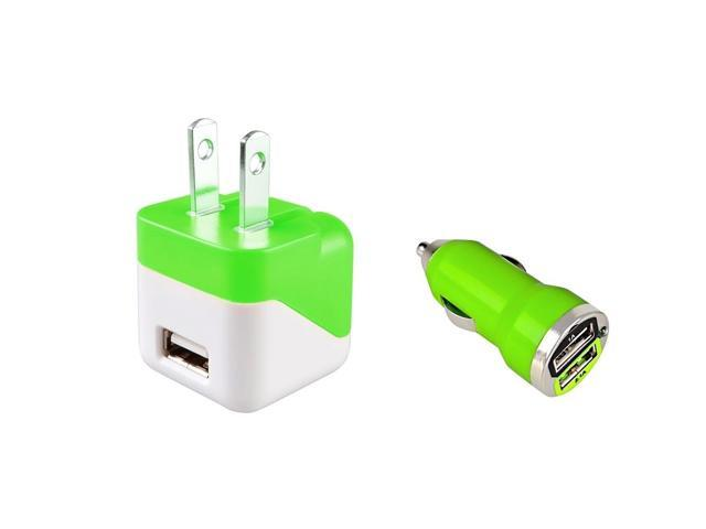 eForCity Green 2-Port USB Car + AC Wall Charger For Samsung Galaxy / Apple iPhone 6 / Moto G E X / Nokia Lumia / ...