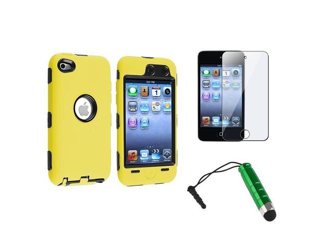 eForCity Black/Yellow Hybrid Hard Case + LCD Protector + Stylus For Apple iPod Touch 4 4G 4th Gen