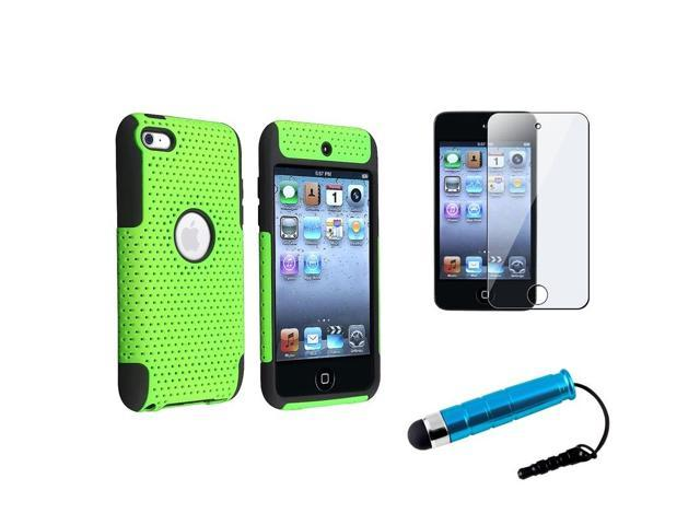 eForCity Black/Green Meshed Hard Case + Screen Protector + Stylus For iPod Touch 4 4G 4th Gen