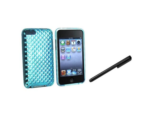 eForCity Clear Blue Diamond TPU Skin Case Cover + Black Stylus For iPod touch 2 3 G 3rd Gen