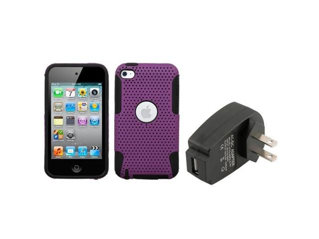 eForCity For iPod Touch 4 4th Purple/Black Astronoot Phone Case + USB Travel Charger Adapter
