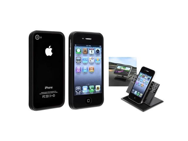eForCity Shinny Black Signal Bumper Frame Skin Case + Car Dashboard Mount For Apple iPhone 4 G 4S