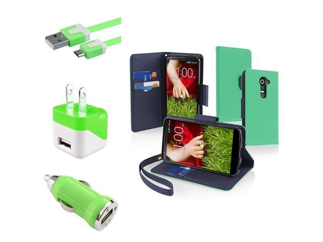 eForCity Green/Blue Leather Wallet Flip Case + Flat Cable + DC Car + AC Charger For LG G2 (Designed for LG G2 All Carriers)