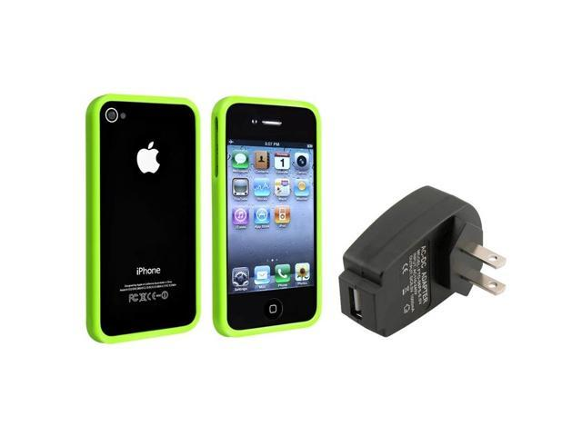 eForCity Green Shinny Bumper Rim Frame Case + USB Wall Home Charger For Apple iPhone 4 4G Gen 4S