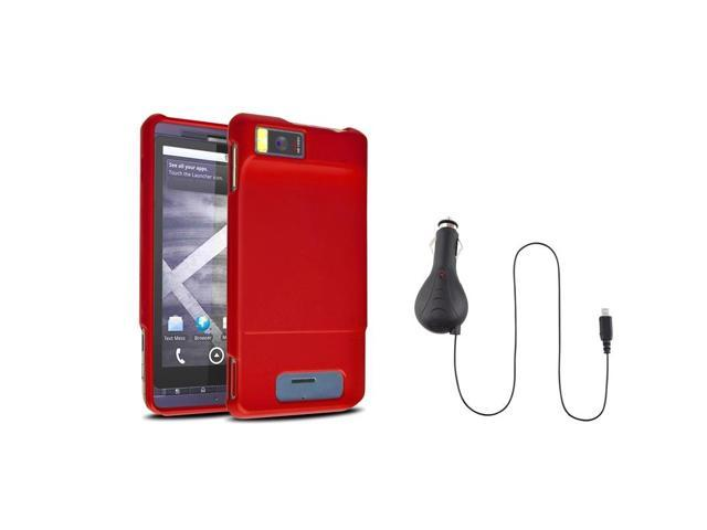 eForCity Red Rubberized Case + Retractable Car Charger For Motorola Droid X MB810 Droid X2