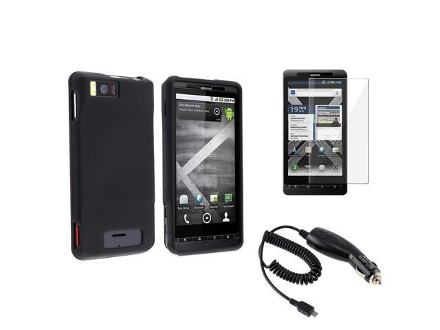 eForCity Black Hard Skin Cover Case + Screen Protector + Car Charger For Motorola Droid X2