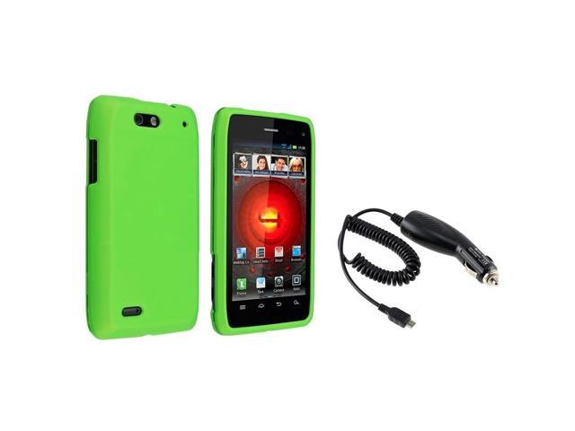 eForCity Green Snap-on Hard Rubber Skin Case + Car Charger For Motorola Droid 4 XT894