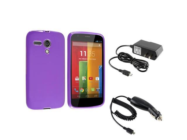 eForCity Purple TPU Gel Jelly Skin Soft Back Case + Micro USB Car + AC Wall Home Charger For Motorola Moto G