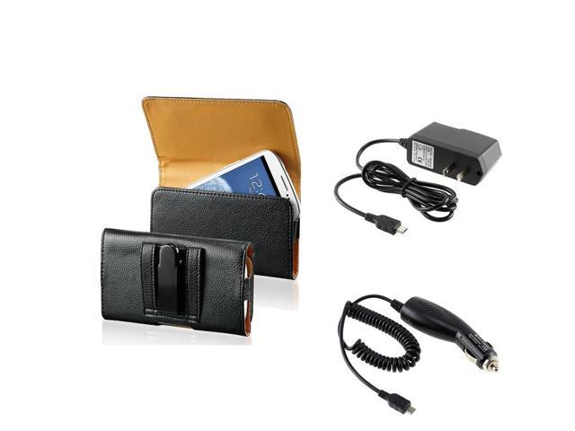 eForCity Leather Wallet Pouch Case Cover + Micro USB Car Charger + 5V Micro USB Travel Charger For Samsung Galaxy SIII S3 i9300