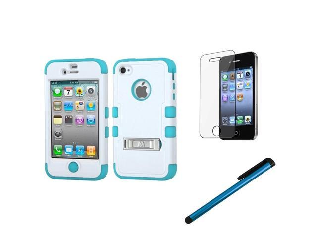 eForCity Ivory White/Teal Hybrid Case Skin Stand For Apple iPhone 4 4s 4G + Clear Screen Protector + 3.5mm Stylus Pen