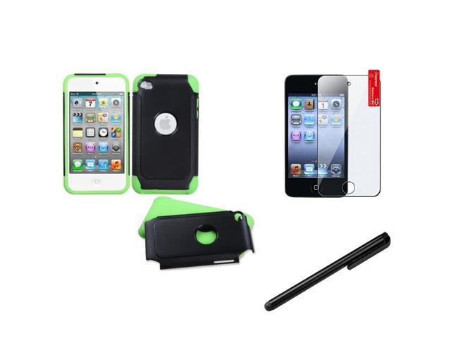 eForCity Green Black Hard Soft Hybrid Case + LCD Shiled + Stylus compatible with Apple® iPod Touch 4 4G 4th Gen