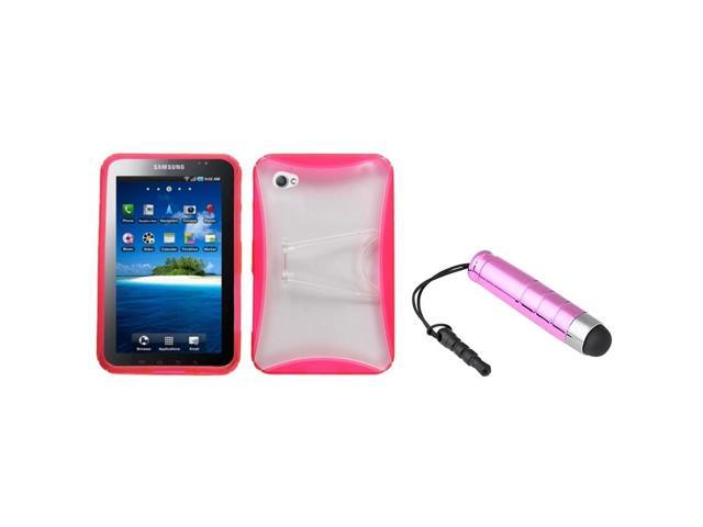 eForCity Transparent Clear/Pink Stand Gummy Cover + Pink Mini Stylus compatible with Galaxy Tab P1000
