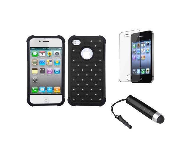 eForCity Black/Black Luxurious Lattice TotalDefense Case + LCD Cover + Mini Stylus compatible with Apple® iPhone 4S/4