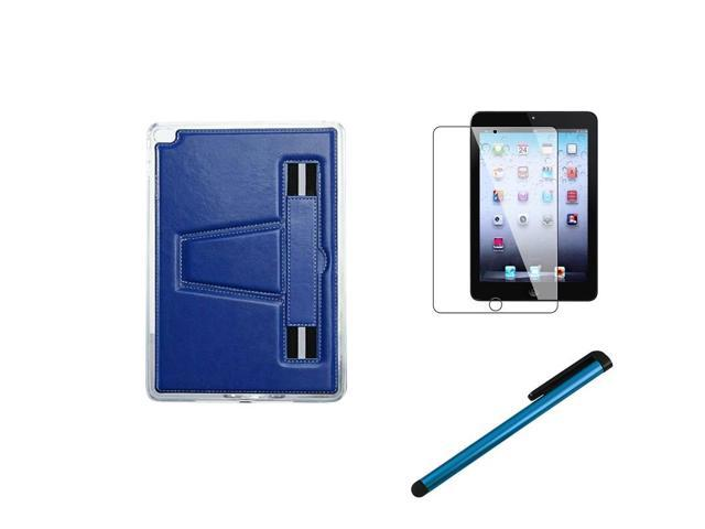 eForCity For iPad Mini 2 3 TPU Gel Rubber Soft Skin Case Stand+Protector+Stylus Dark Blue
