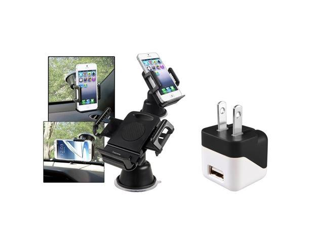eForCity USB Mini Travel AC Wall Charger For Samsung Galaxy S5 S4 Note 4 3 2 HTC One M8 iPhone 6 (with Car Phone Holder) ...