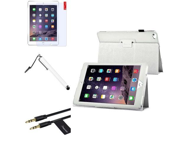 eForCity White Stand Leather Case Cover + Screen Protector + Stylus + Cable For Apple iPad Air 2 2014