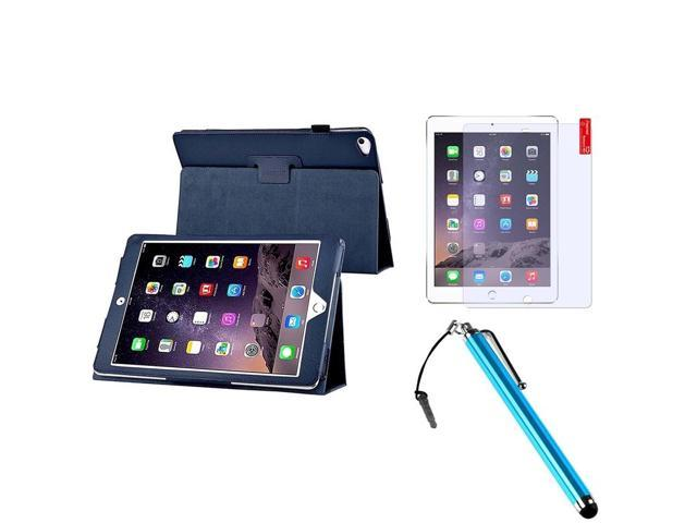 eForCity Navy Blue Stand Leather Case Cover + Matte Screen Protector + Stylus For Apple iPad Air 2 2014