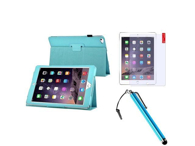 eForCity Light Blue Stand Leather Case Cover + Matte Screen Protector + Stylus For Apple iPad Air 2 2014