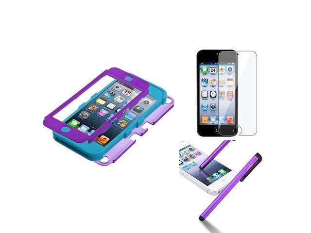 eForCity Grape Teal Rubber Hard Hybrid Case + Protector + Stylus compatible with Apple? iPod Touch 5 5G 5th Gen