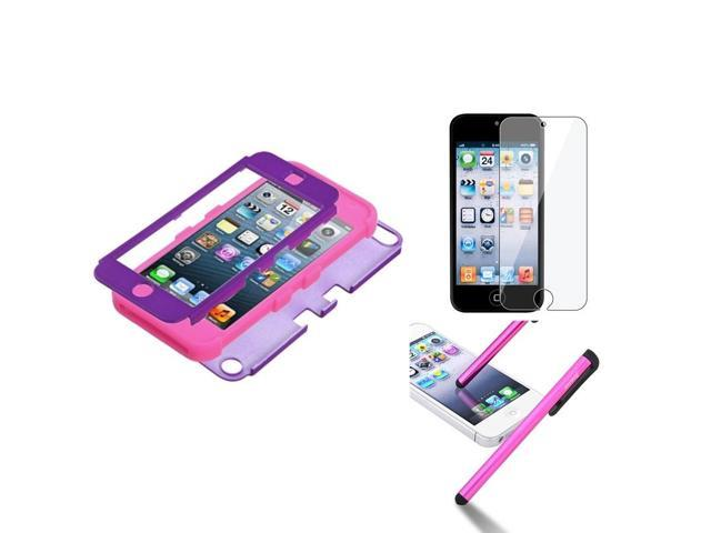 eForCity Grape Pink Rubber Hard Hybrid Case + LCD Film + Stylus compatible with Apple? iPod Touch 5 5th 5G Gen