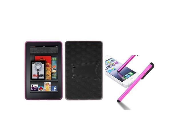 eForCity Transparent Clear Semi Pink Pattern Gummy Case + Pink Touch Stylus compatible with Kindle Fire