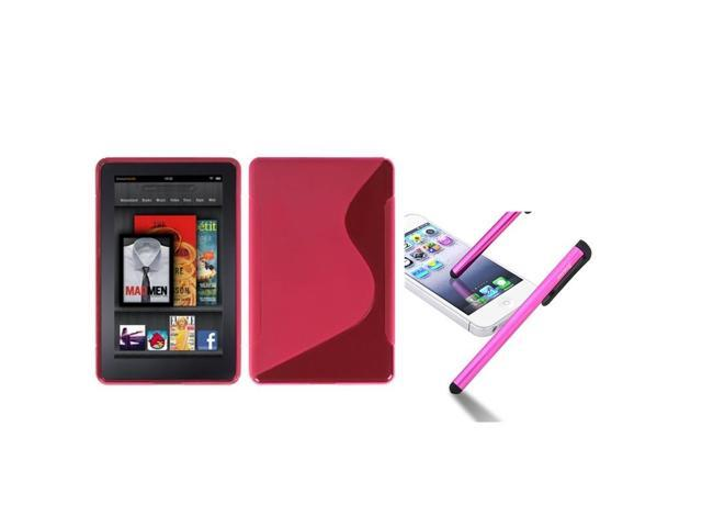 eForCity Hot Pink S Shape Candy Skin Case Cover + Pink Touch Stylus compatible with Amazon Kindle Fire
