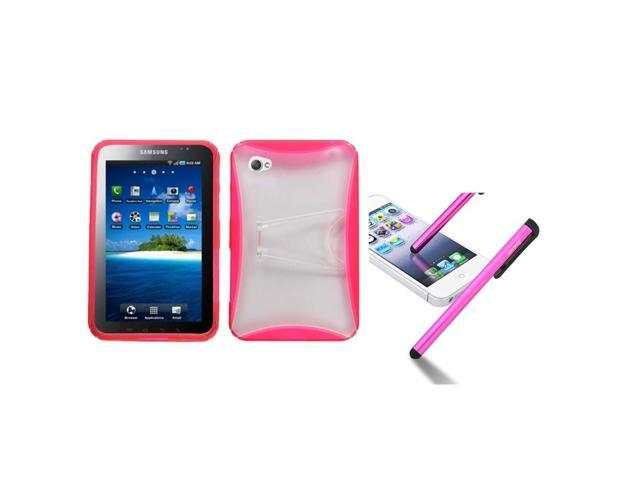 eForCity Transparent Clear Pink Stand Gummy Cover + Touch Stylus compatible with Samsung© Galaxy Tab P1000
