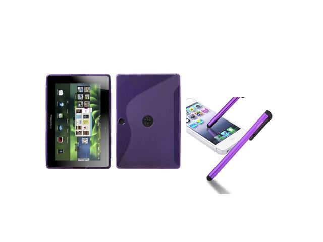 eForCity Purple S Shape Candy Skin Case + Touch Screen Stylus compatible with Rim Blackberry Playbook