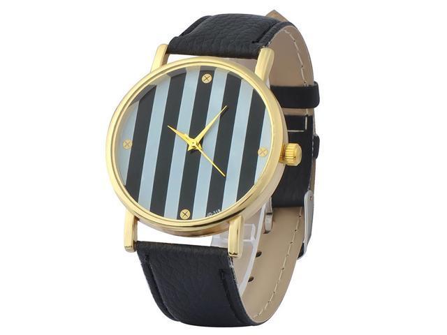 eForCity Black Women's Classic Stripes Print Dial Leather Band Analog Quartz Wrist Watches