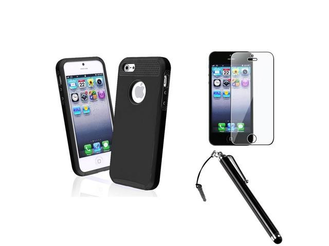 eForCity Black Shockproof Case + Protector + Stylus For iPhone 5 5S