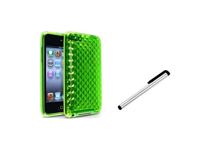 eForCity Green Diamond Rubber TPU Cover Case + Stylus For iPod touch 2nd 3rd Gen