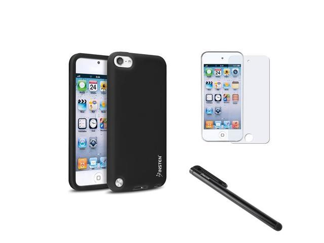 eForCity Black Rubber Skin Case + Anti-Glare Protector + Stylus For iPod touch 5 5th Gen