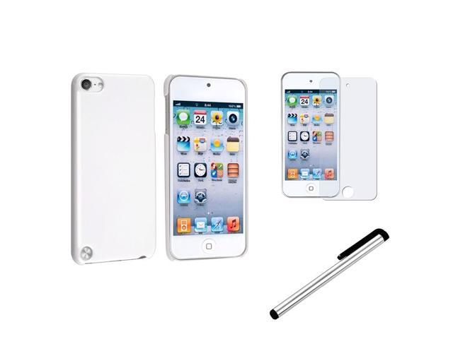 eForCity White Hard Case + Anti-Glare Protector + Stylus For iPod touch 5 5th Gen