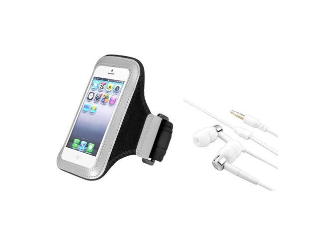 eForCity Silver/Black Sports Armband Running Gym Case + 3.5mm Headphone For iPod Touch 5 5th Gen 5G