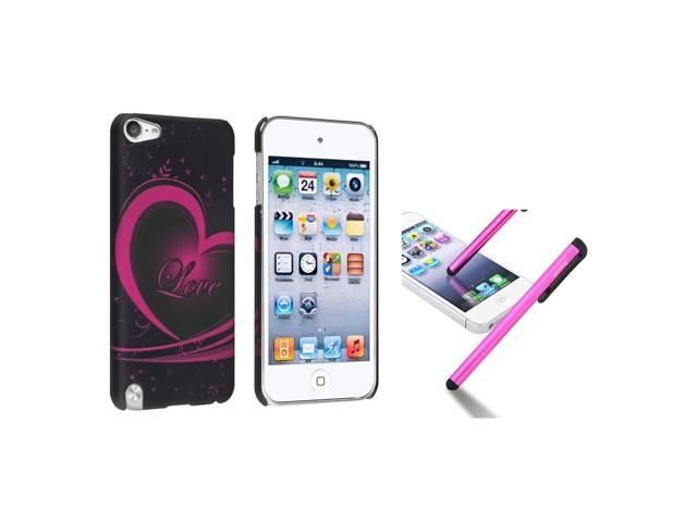 eForCity Love Print Designer Rubber Hard Case Cover + Stylus for iPod Touch 5 5th Gen 5G